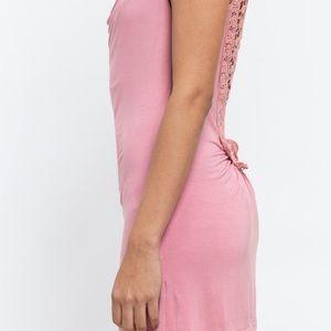 POL Tops - Drape Front Tank Tunic with Lace Back Detailing